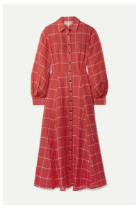 Mara Hoffman - Liliana Checked Linen And Tencel-blend Midi Dress - Red