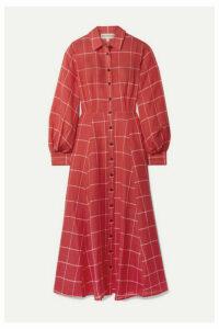 Mara Hoffman - Liliana Checked Linen And Tencel-blend Midi Dress - Red