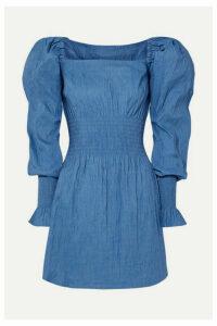 ANNA QUAN - Everly Shirred Crinkled Stretch-jacquard Mini Dress - Blue