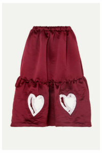 Comme des Garçons GIRL - Ruffled Cutout Tiered Satin Midi Skirt - Burgundy