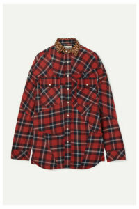R13 - Oversized Leopard-print Canvas-trimmed Checked Cotton-flannel Shirt - Red