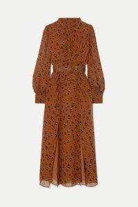 Nicholas - Ruched Belted Leopard-print Silk-chiffon Midi Dress - Light denim