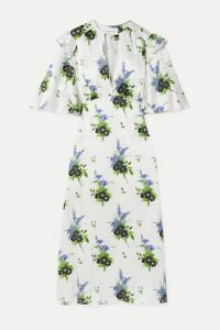 Les Rêveries - Ruffled Floral-print Silk-satin Midi Dress - White