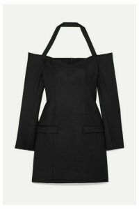 ANNA QUAN - Nina Off-the-shoulder Wool-twill Mini Dress - Black