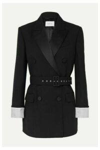 Racil - Farrah Belted Double-breasted Satin-trimmed Wool-crepe Blazer - Black