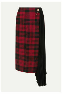 Mother of Pearl - Marita Asymmetric Checked Wool And Pleated Chiffon Skirt - Red
