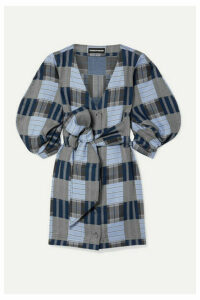 House of Holland - Belted Patchwork Checked Lyocell Mini Dress - Blue