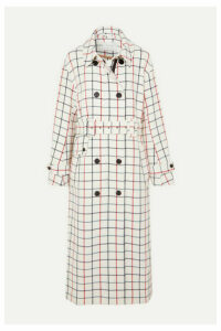 MUNTHE - Hamburg Belted Double-breasted Checked Twill Trench Coat - Ecru