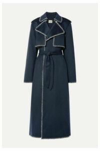 Khaite - Roman Oversized Whipstitched Felt Trench Coat - Midnight blue