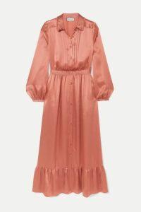Paul & Joe - Tiered Pleated Silk-satin Midi Dress - Bronze