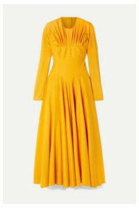 Emilia Wickstead - Nasiba Open-back Gathered Wool-gabardine Midi Dress - Marigold