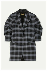 Michael Kors Collection - Checked Ruched Wool-blend Twill Blazer - Dark gray
