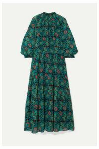 APIECE APART - Dubrovnik Tiered Printed Silk-chiffon Dress - Green