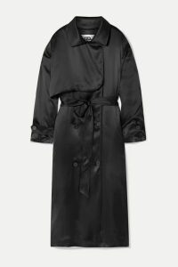 Balenciaga - Belted Silk-satin Midi Dress - Black