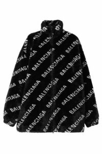 Balenciaga - Printed Faux Fur Jacket - Black