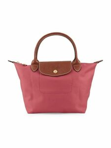 Leather-Trimmed Top Handle Bag