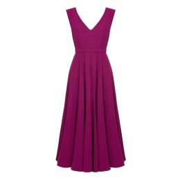 UNDRESS - Melina Deep Pink V Back & V Neck Flared Midi Dress