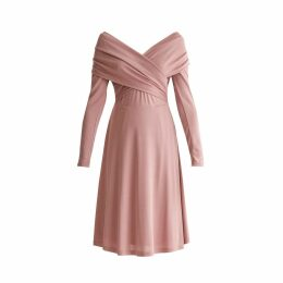 PAISIE - Skater Dress With Cross Wrap Shoulders In Blush