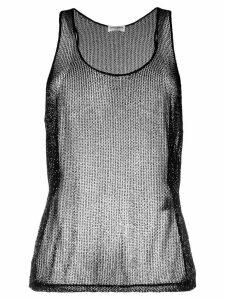 Saint Laurent beaded mesh tank top - Black