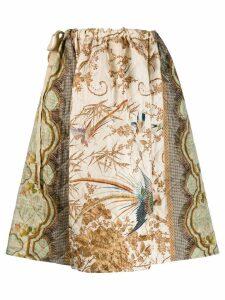 Pierre-Louis Mascia flared botanical print skirt - Neutrals