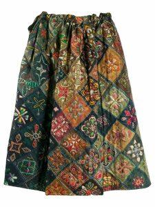 Pierre-Louis Mascia flared tile print skirt - Green