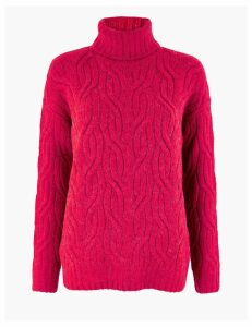M&S Collection Cable Knit Roll Neck Jumper with Alpaca