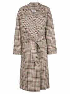 Nomia plaid pattern trench coat - Brown