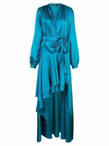 Patbo satin wrap gown - Blue