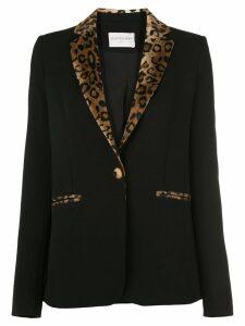 Valentina Shah faux-leopard trimmed blazer - Black