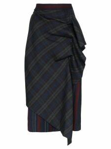 pushBUTTON check print draped midi skirt - Green