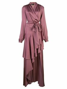 Patbo satin wrap gown - PURPLE