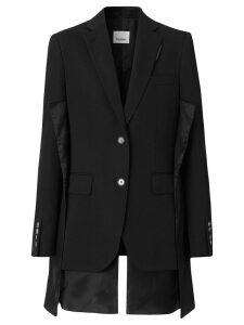 Burberry Logo Panel Detail Wool Tailored Jacket - Black