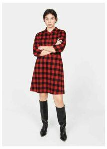 Two-pocket check dress