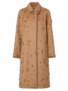 Burberry Embellished Wool Cashmere Car Coat - Brown