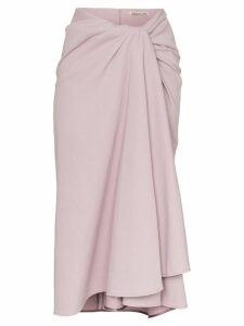 Samuel Gui Yang towel effect draped midi skirt - PURPLE