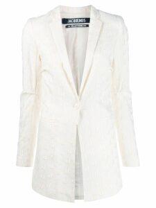 Jacquemus J logo blazer - White