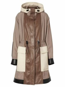 Burberry Leather Panelled Nylon Hooded Parka - WARM TAUPE