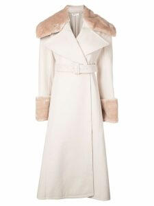 Adeam faux-fur detail coat - Neutrals