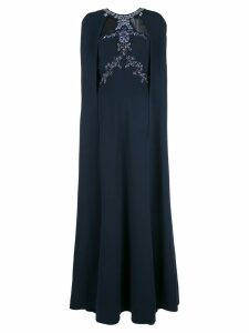 Marchesa Notte bead embroidered crepe cape gown - Blue