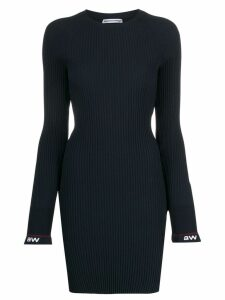 T By Alexander Wang ribbed flared cuffs dress - Blue