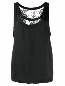 ALEXANDER MCQUEEN lace detail satin top - Black