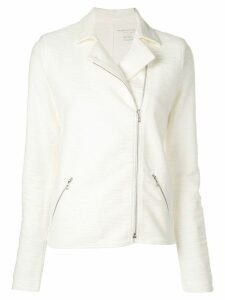 Majestic Filatures slub biker jacket - White