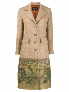 Etro embroidered single-breasted coat - Neutrals