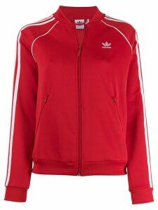 Adidas contrast logo bomber jacket - Red