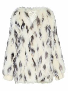 Miu Miu spotted fox fur coat - White
