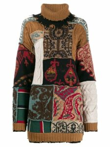 Etro roll-neck pattern mix sweater - Brown