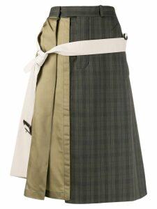 Maison Margiela asymmetric patchwork midi skirt - NEUTRALS