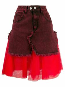 Brognano layered fabric mix skirt