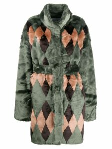 Antik Batik textured furry coat - Green