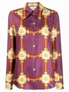 Gucci chain and logo print blouse - Purple